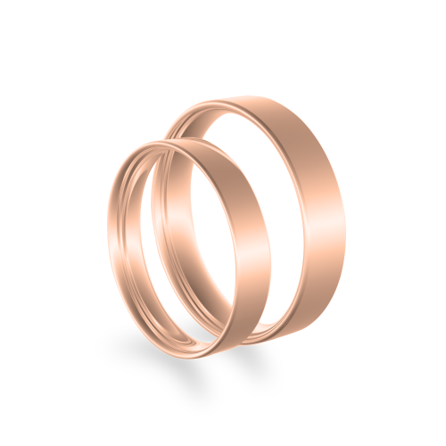Flat wedding rings made of red gold