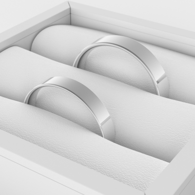 Flat wedding rings made of white gold