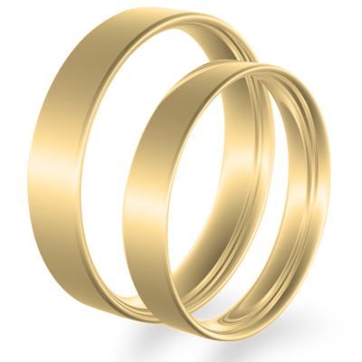 Flat wedding rings made of yellow gold