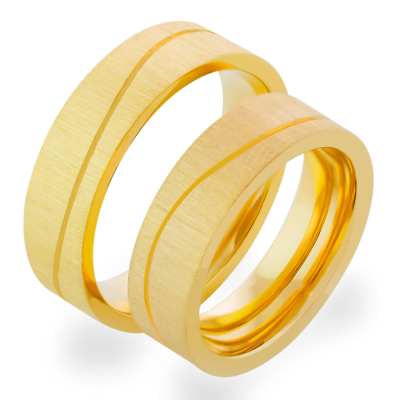 Matné zlaté snubní prsteny s diamanty FORE