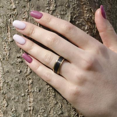 GEKE gold black ruthenium marriage rings