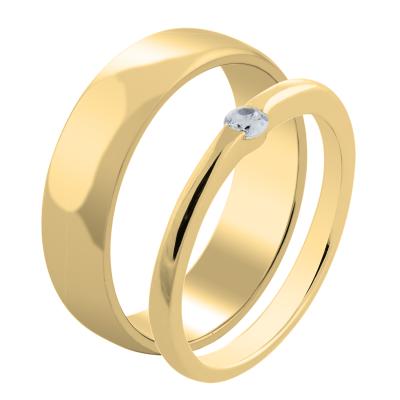 HAMEN classic gold diamond wedding ring