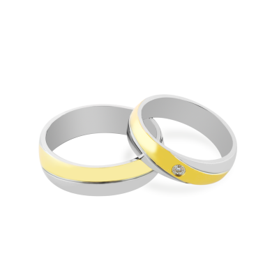 IFE combination gold diamond wedding rings
