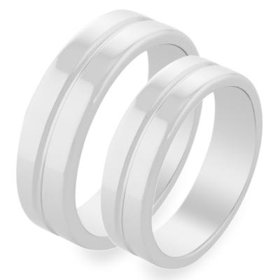 Jednoduché snubní prsteny z bílého zlata LAVINA