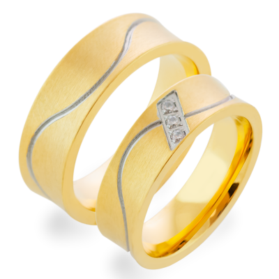 LORI matte gold diamond wedding rings
