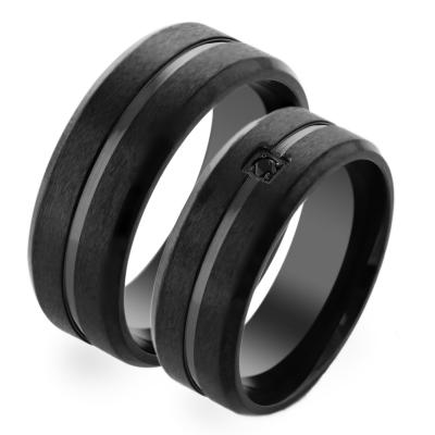 MOON black gold wedding rings with diamond