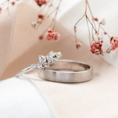 Gold cluster ring and matt ring for men ROMANZA