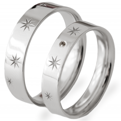 Gold wedding rings with stars and diamond STAR