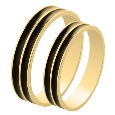 Zlaté snubní prsteny s černým povrchem ruthenia TANDE