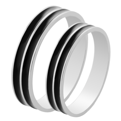 TANDE gold black ruthenium marriage rings