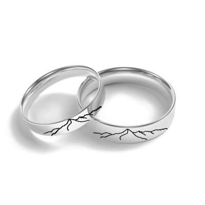 Gold wedding rings with engraved mountains TATRY