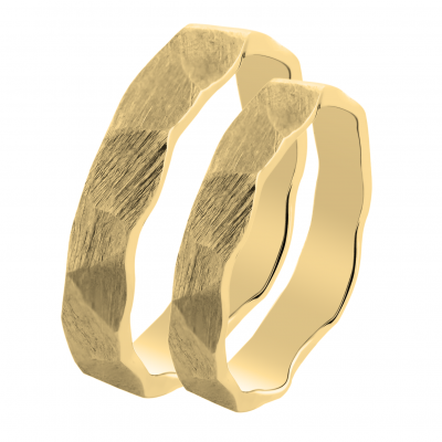 Gold wedding rings with a relief surface TRINVI