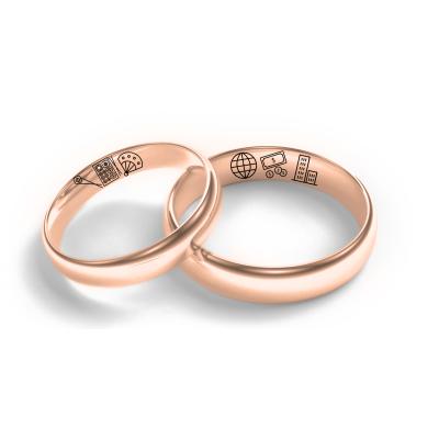 Custom wedding rings with own symbol