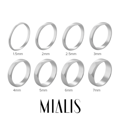 D-SHAPE mat wedding white gold rings - Delicate Simplicity
